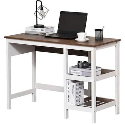 43.25 in. Retangular White Computer Writing Desk with 2-Level Shelving