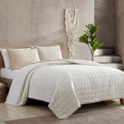 3-Piece Everly Embroidered Quilt Set Linen/Cream Queen