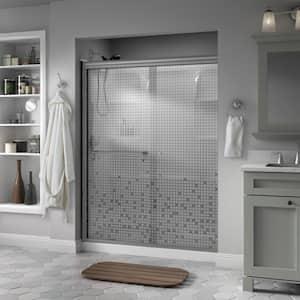 Portman 60 in. x 70 in. Semi-Frameless Traditional Sliding Shower Door in Nickel with Mozaic Glass