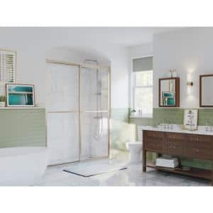 Paragon 48 in. to 49.5 in. x 66 in. Framed Sliding Shower Door with Towel Bar in Brushed Nickel and Clear Glass