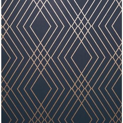Shard Navy Trellis Navy Wallpaper Sample