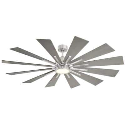 60 in. Integrated LED Brushed Pewter Ceiling Fan with Light