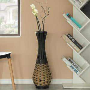 28 in. Tall Brown Antique Trumpet Style Floor Vase For Entryway or Living Room Bamboo Rope