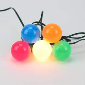 20-Light Multi-Color Opaque G50 Globe Christmas Lights with Green Wire