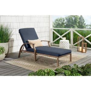 Geneva Brown Wicker Outdoor Patio Chaise Lounge with CushionGuard Sky Blue Cushions