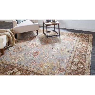 Irie Gray/Brown 8 ft. x 10 ft. Floral Wool Area Rug