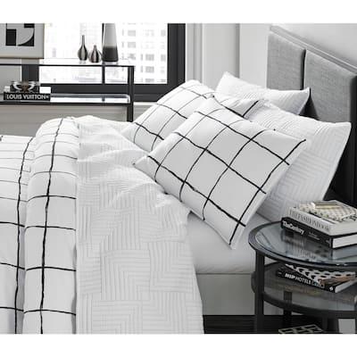 Zander 2-Piece White Plaid Microfiber Twin Comforter Set