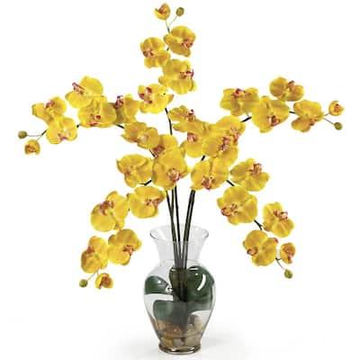 31 in. Phalaenopsis Liquid Illusion Silk Flower Arrangement in Yellow