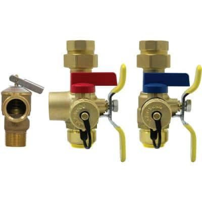 3/4 in. Brass FIP Union x PUSH Lead Free Hot & Cold Ball Valves with Pressure Relief Valve Kit for Tankless Water Heater