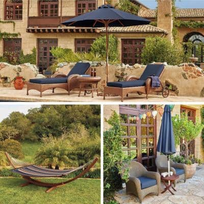 80 in. L x 26 in. W x 3 in. T Montlake Heather Indigo Blue Outdoor Chaise Lounge Cushion