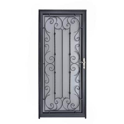 Palermo 36 in. x 80 in. Black Full View Wrought Iron Security Storm Door with Reversible Hinging