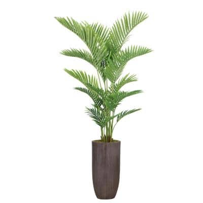 77.25 in. Real Touch Palm Tree in Fiberstone Planter