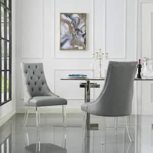 Winona Grey PU Leather Acrylic Leg Armless Dining Chair (Set of 2)