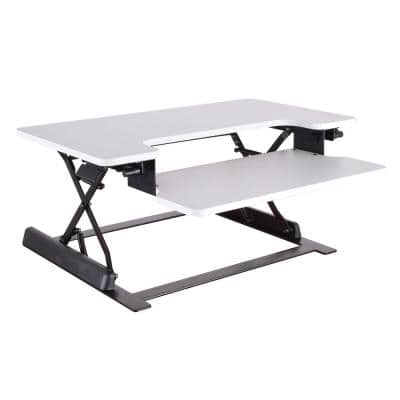 36 in. Rectangular White Standing Desk with Adjustable Height Feature