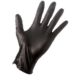 Large Black 4 Mil Disposable Nitrile Gloves (100-Box)