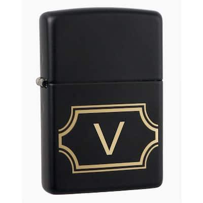 """Black Matte Lighter with Initial """"V"""""""