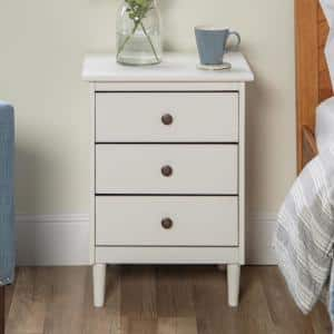 Classic Mid Century Modern 3-Drawer White Solid Wood Nightstand
