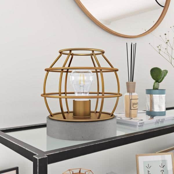 Meyer Cross Kennet 9 In Antique Brass Cage Table Lamp With Concrete Pedestal Tl0030 The Home Depot