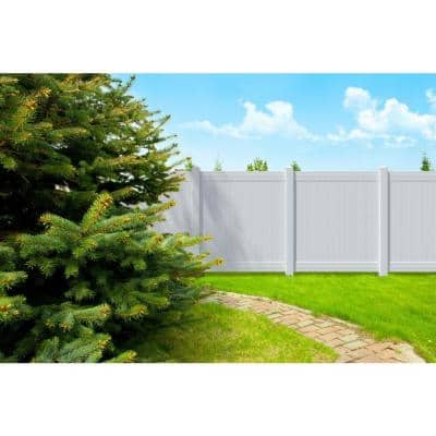 5 in. x 5 in. x 8 ft. White Vinyl Routed Fence End Post