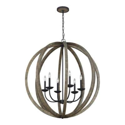 Allier 38 in. W. 6-Light Weathered Oak Wood and Antique Forged Iron Chandelier