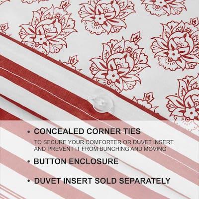 Malcolm 3-Piece Chilli Stripe King Duvet Cover Set
