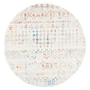 Tulum Ivory/Pink 7 ft. x 7 ft. Round Area Rug