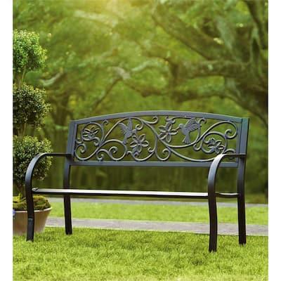 50 in. Hummingbird Metal Outdoor Garden Bench