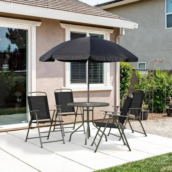 4 Folding Dining Tables 01 0709, Outdoor Bistro Set With Umbrella