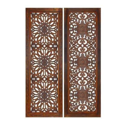 Burnt Brown 2-Piece Mango Panel Set with Mandallion Carving Wood Wall