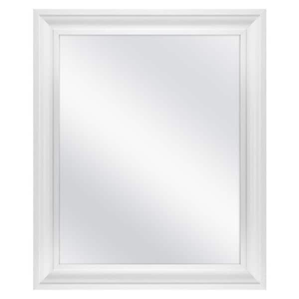 Home Decorators Collection 23 5 In W X 28 5 In H Framed Rectangular Anti Fog Bathroom Vanity Mirror In White 83026 The Home Depot
