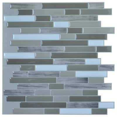 12 in. x 12 in. Peel and Stick Vinyl Backsplash Tile in Long Stone Design (6-Pack)