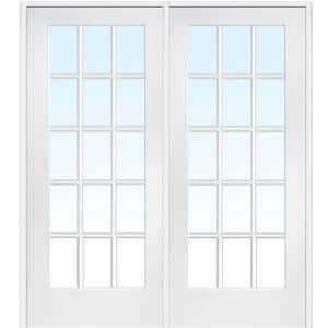 60 in. x 80 in. Left Hand Active Primed Composite Glass 15 Lite Clear True Divided Prehung Interior French Door