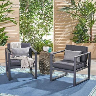 Navan Dark Gray Armed Aluminum Outdoor Lounge Chair with Dark Gray Cushions (2-Pack)