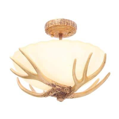 Antler 16.5 in. 3-Light Semi-Flush Mount with Sunset Glass Shade