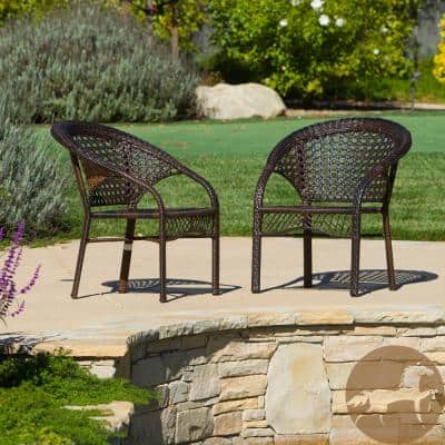Ace Brown Stackable Wicker Outdoor Dining Chair (2-Pack)