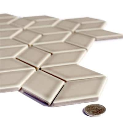 Monet Pebble Gray Cubed Mosaic 2 in. x 2 in. Glossy Porcelain Mesh Mounted Wall & Pool Tile (0.9 Sq. ft.)