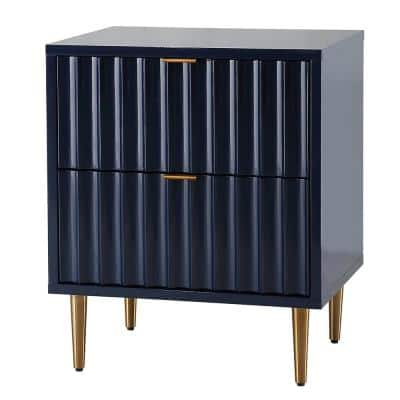 Blue Wavy Line Design 2-Drawer Chest of Drawers with Sturdy Metal Golden Legs