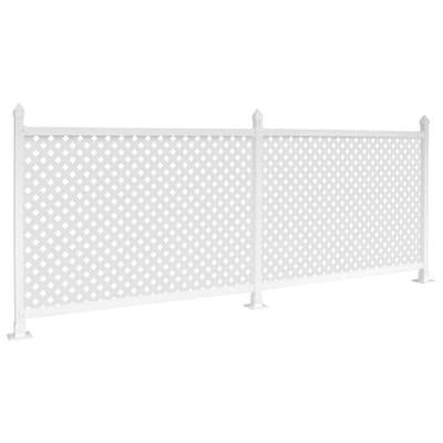 36 in. x 24 ft. White Modular Vinyl Fence Trailer Skirt with Lattice - Hard Surface