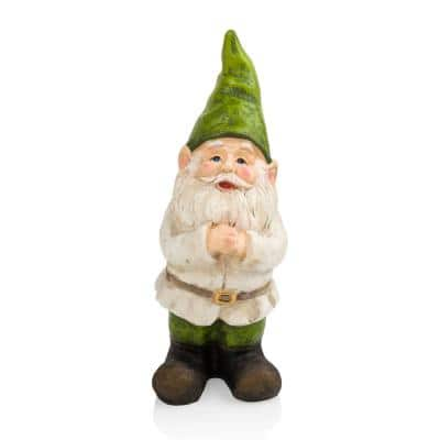 12 in. Tall Outdoor Garden Gnome Folding Hands Yard Statue Decoration
