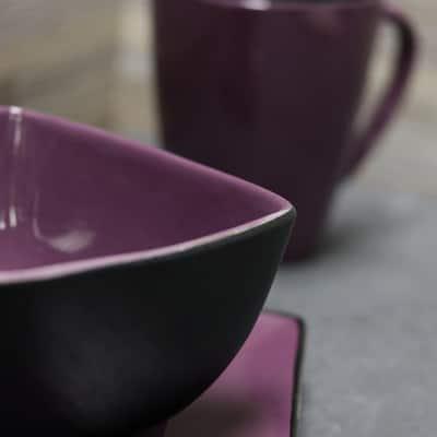 Mulberry 16-Piece Modern Purple Earthenware Dinnerware Set (Service for 4)