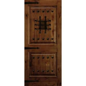 36 in. x 80 in. Mediterranean Knotty Alder Square Top Provincial Stain Right-Hand Inswing Wood Single Prehung Front Door