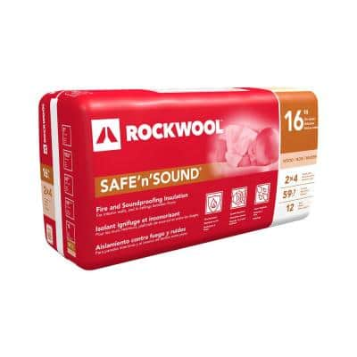 Safe 'n' Sound 3 in. x 15-1/4 in. x 47 in. Soundproofing Stone Wool Insulation (1-Bag)