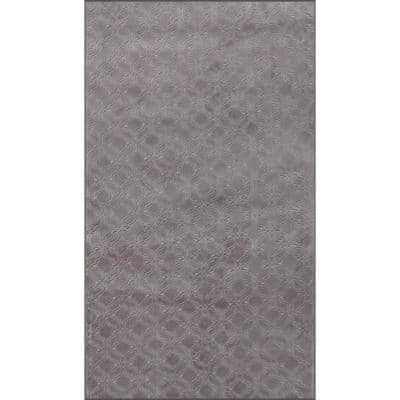 Newruz Collection Brown Taupe 20 in. x 30 in. Polypropylene Bath Rug