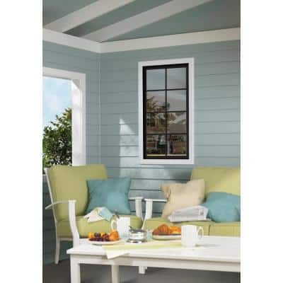 28 in. x 48 in. W-2500 Series Green Painted Clad Wood Right-Handed Casement Window with Colonial Grids/Grilles