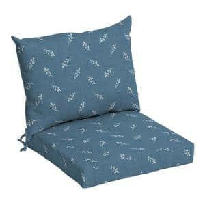 21 in. x 21 in. Blue Ditsy Floral Outdoor Dining Chair Cushion