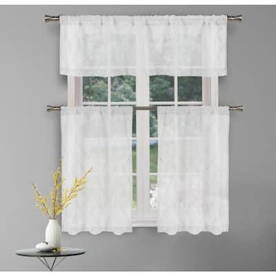 White Geometric Rod Pocket Room Darkening Curtain - 58 in. W x 15 in. L (Set of 2)