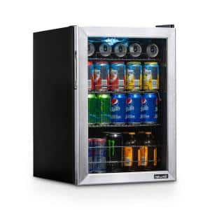 17 in. 90 (12 oz.) Can Freestanding Beverage Cooler Fridge with Adjustable Shelves, Stainless Steel