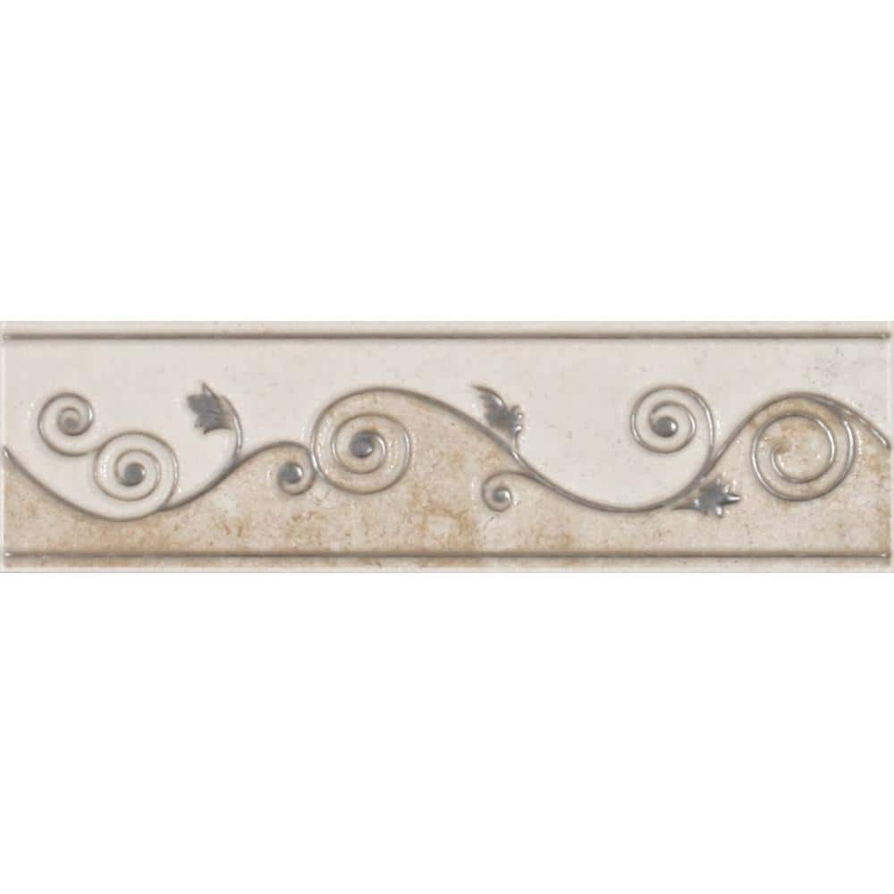 eliane melbourne sand 3 in x 8 in ceramic listello wall tile 8010482 the home depot