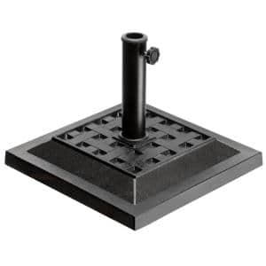 18 in. Square Resin Umbrella Base with Basket Weave Design in Black