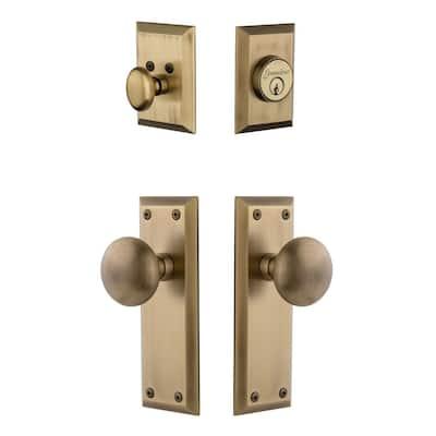Fifth Avenue Plate 2-3/4 in. Backset Vintage Brass Fifth Avenue Door Knob with Single Cylinder Deadbolt